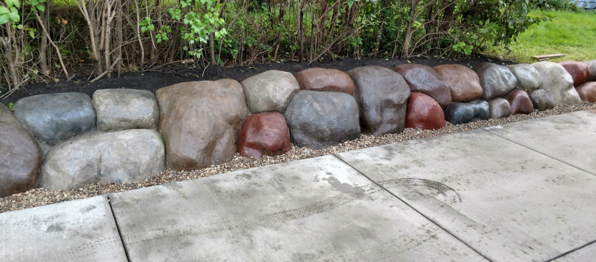 Custom Concrete Boulder Walls and Borders